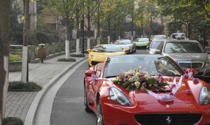 朋友的豪华婚礼车队 法拉力 玛莎拉蒂 宾利 全上 上照高清图片